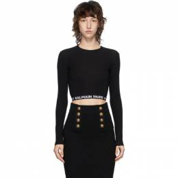 Balmain Black Cropped Logo T-Shirt BPM005010