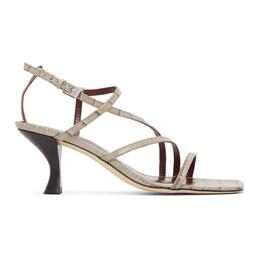 Staud Grey Croc Gita Heeled Sandals 12-1007-FRGC