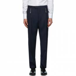 Hugo Navy Wool Zip Detail Trousers 50432366