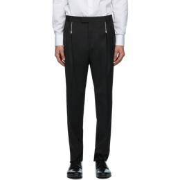 Hugo Black Wool Zip Detail Trousers 50432366