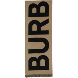 Burberry Tan Logo Wool Scarf 8025583