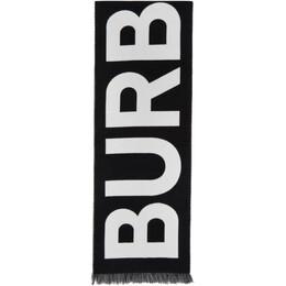 Burberry Black Logo Wool Scarf 8025557