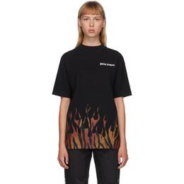 Palm Angels Black Tiger Flames T-Shirt PMAA001E20JER0011020