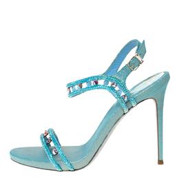 Rene Caovilla Blue Glitter Leather And Crystal Embellished Satin Ankle Strap Sandals Size 39 302633