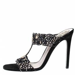 Rene Caovilla Black Leather And Cut Out Fabric Crystal Embellished Sandals Size 39 302635