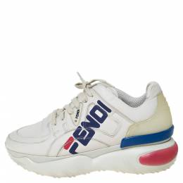 Fendi White Leather And Rubber Fendi-Fila Mania Logo Low Top Sneakers Size 38 302537