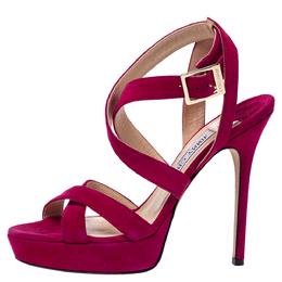 Jimmy Choo Fuchsia Pink Suede Vamp Platform Sandals Size 37 302291