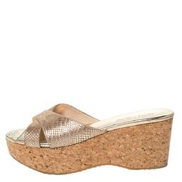 Jimmy Choo Beige/Gold Foil Embossed Suede Prima Cork Wedge Sandals Size 39 302570