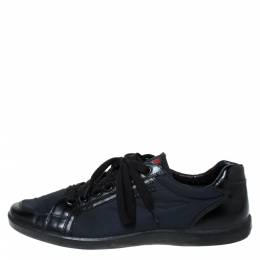 Prada Black Leather And Nylon Lace Up Sneakers Size 43.5 302575