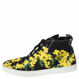Dolce&Gabbana Black/Yellow Floral Print Canvas High Top Sneakers Size 41 302546