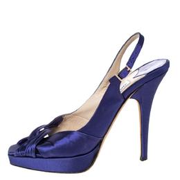 Jimmy Choo Purple Satin Poem Peep Toe Slingback Platform Sandals Size 36.5 302540