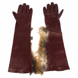 Fendi Maroon Fox Fur and Leather Long Gloves 301362