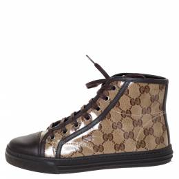 Gucci Brown/Beige GG Coated Canvas And Leather Trim California High Top Sneakers Size 36 301350