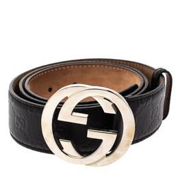 Gucci Black Guccissima Leather Interlocking G Buckle Belt 95CM 302480