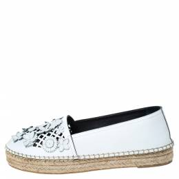 Dior White Laser Cut Floral Embellished Leather Flore Espadrilles Size 38 302483