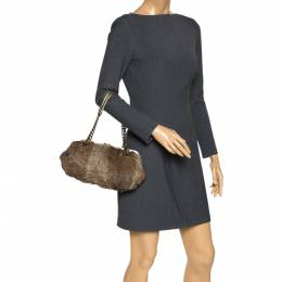 MICHAEL Michael Kors Light Brown Fox Fur and Leather Frame Chain Shoulder Bag 302850