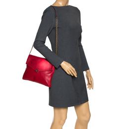 Carolina Herrera Red Leather Envelope Flap Shoulder Bag 302856