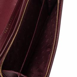 Tory Burch Burgundy Leather Logo Flap Continental Wallet 302893