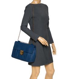 Chloe Blue Leather Large Elsie Shoulder Bag 302883