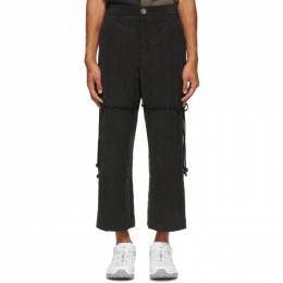 Song For The Mute Black Elasticated Knee Patch Lounge Pants 202_MPT078K_TERYBLK