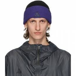 Nike Acg Black and Purple NRG Logo Beanie CT8414