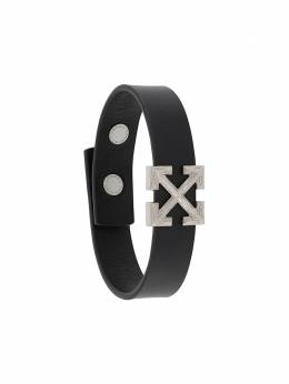 Off-White ARROW LEATHER BRACELET BLACK METAL OMOA027E20LEA0011078
