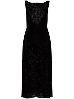 Rixo бархатное платье миди без рукавов RIX10575320890SILKVISCOSEMIX