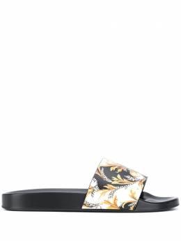 Versace шлепанцы с принтом Acanthus DSU6210DSTBAG