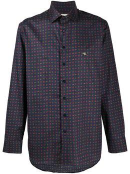Etro рубашка с вышитым логотипом 1K5263343