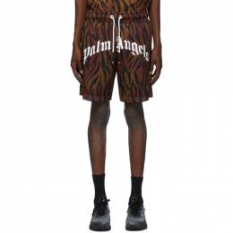 Palm Angels Brown Tiger Shorts PMCB023E20FAB0026001