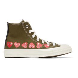 Comme Des Garcons Play Khaki Converse Edition Multiple Hearts Chuck 70 High Sneakers P1K116