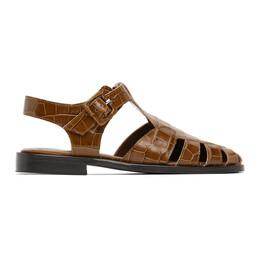 Staud Brown Croc Brady Sandals 12-1062-SDLC