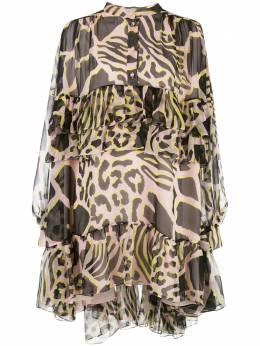 Adam Lippes платье с анималистичным принтом и оборками P20727PF