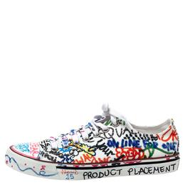 Vetements White Graffiti Canvas Low Top Sneakers Size 38 302626