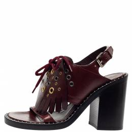 Burberry Burgundy Leather Beverley Fringe Slingback Sandals Size 36 302967