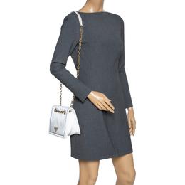 Prada White Tessuto Nylon Logo Plaque Flap Chain Shoulder Bag 302503
