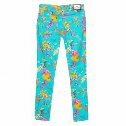 Etro Cyan Blue Flora & Fauna Print Skinny Jeans S 302507
