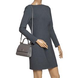 Dolce&Gabbana Grey Leather Mini Sicily Top Handle Bag 302992
