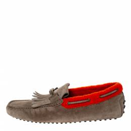 Tod's Beige/Orange Suede And Shearling Trim Double T Fringe Loafers Size 43.5 Tod's 302979