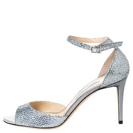 Jimmy Choo Metallic Sliver Coarse Glitter Annie Ankle Strap Sandals Size 40 303009