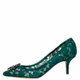 Dolce&Gabbana Green Lace Bellucci Crystal Embellished Pumps Size 41 303000