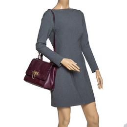 Dolce&Gabbana Burgundy Lizard Embossed Leather Medium Miss Monica Top Handle Bag 303167