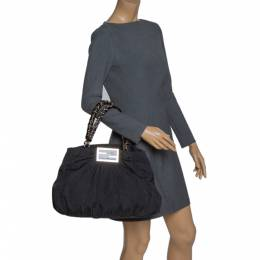 Fendi Black Canvas and Patent Leather Large Mia Shoulder Bag 302941