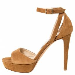 Jimmy Choo Brown Suede Leather Kayden Ankle Strap Sandals Size 38 303015