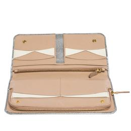 Prada Silver Saffiano Lux Leather Zip Around Wallet Organizer 302951