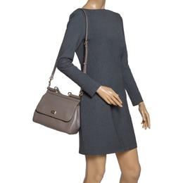 Dolce&Gabbana Grey Leather Medium Miss Sicily Top Handle Bag 302950