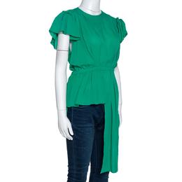 Balenciaga Green Silk Pleated Asymmetrical Blouse M 303029