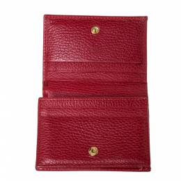Gucci Red Leather GG Marmont Card Case 303145