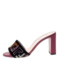 Fendi Black Velvet Multicolor FF Logo Slip On Slides Size 38.5 303035