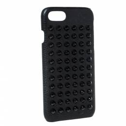 Christian Louboutin Black Leather Spiked iPhone 8 Case 302933